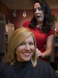 Favorite Local Educator Charlotte Brumfield gets a new do from Favorite Hairdresser Tia Brown.